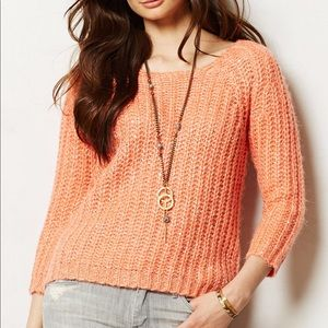 Anthropologie Knitted & Knotted Orange Sweater XS